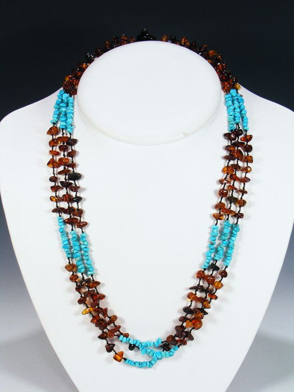 Native American Indian Jewelry 3 Strand Amber Necklace
