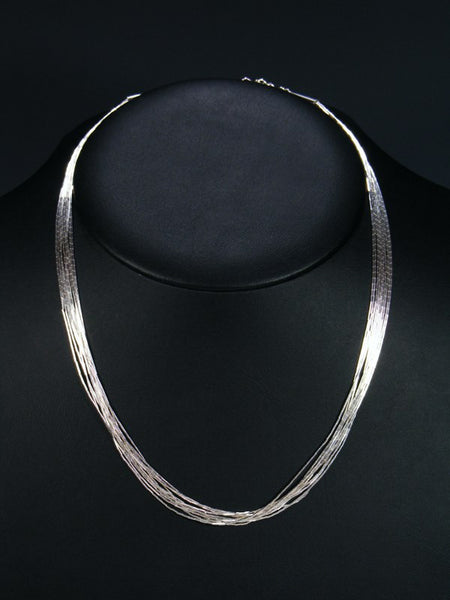 10 Strand Liquid Silver Necklace 18""