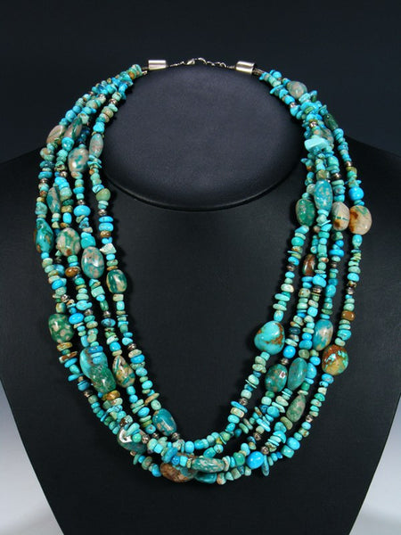 Native American Five Strand Turquoise Necklace