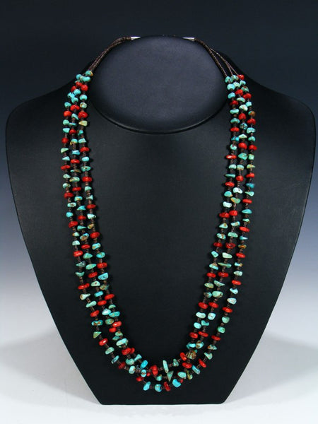 Native American Turquoise Coral Heishi Triple Strand Necklace