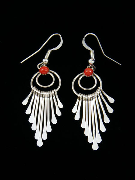 Navajo Sterling Silver Coral Waterfall Dangle Earrings