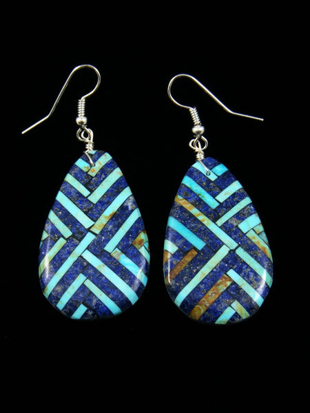 Santo Domingo Lapis and Turquoise Inlay Mosaic Earrings