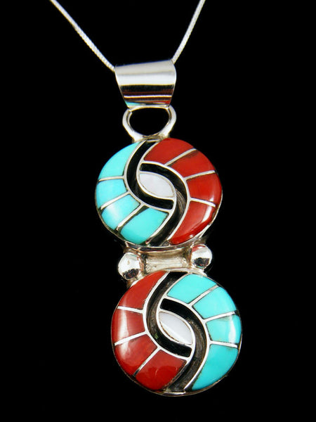 Sterling Silver Zuni Inlay Pendant by Amy Wesley - PuebloDirect.com