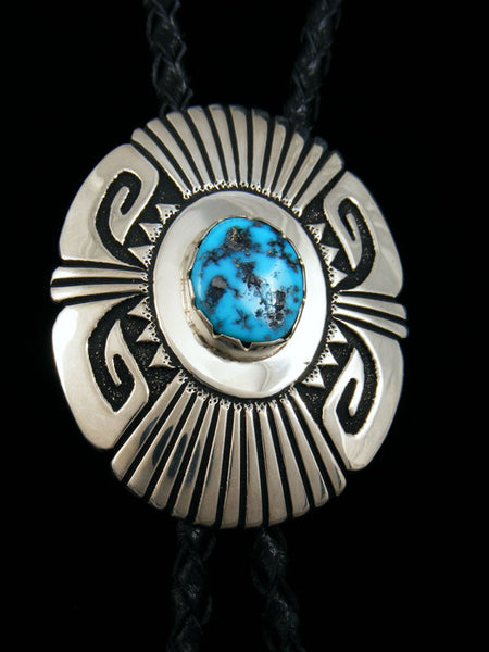 Sterling Silver and Turquoise Bolo Tie by Tommy Singer - PuebloDirect.com - 2