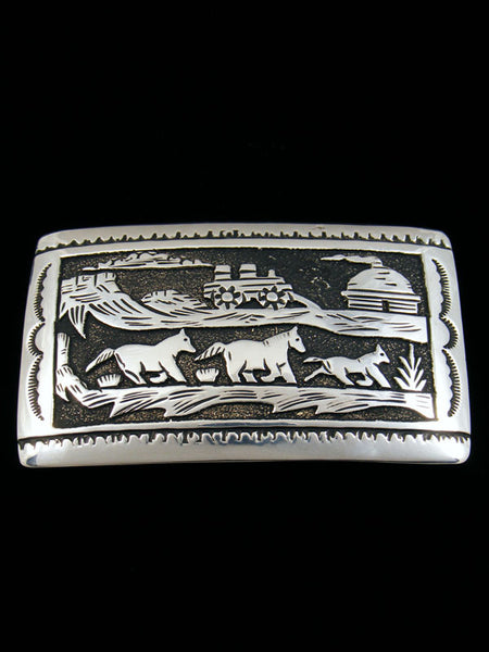 Sterling Silver Storyteller Belt Buckle by Tommy Singer - PuebloDirect.com