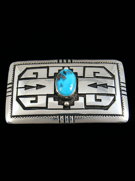 Sterling Silver and Turquoise Belt Buckle by Tommy Singer - PuebloDirect.com