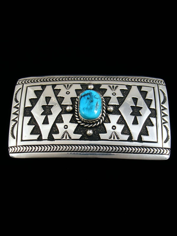 Native American Indian Jewelry Hand Crafted Sterling Silver and Turquoise Overlay Buckle by Tommy and Rosita Singer - PuebloDirect.com