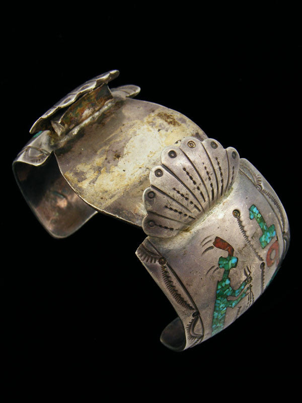 Old Pawn Indian Jewelry Turquoise and Coral Chip Inlay Cuff Watch by Vintage Jewelry - PuebloDirect.com - 1