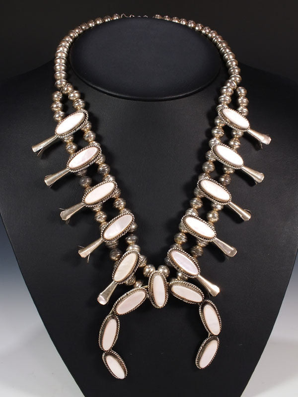 Old Pawn Pink Shell Squash Blossom by Vintage Jewelry - PuebloDirect.com - 1