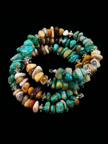 Native American Turquoise and Jasper Bead Wrap Bracelet