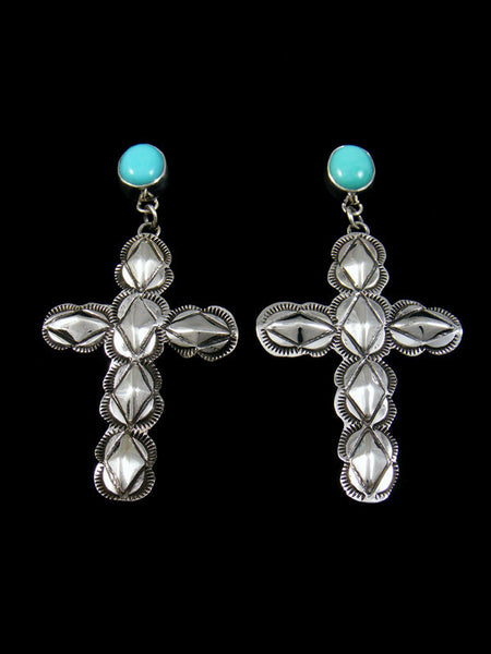 Turquoise Stamped Sterling Silver Cross Earrings