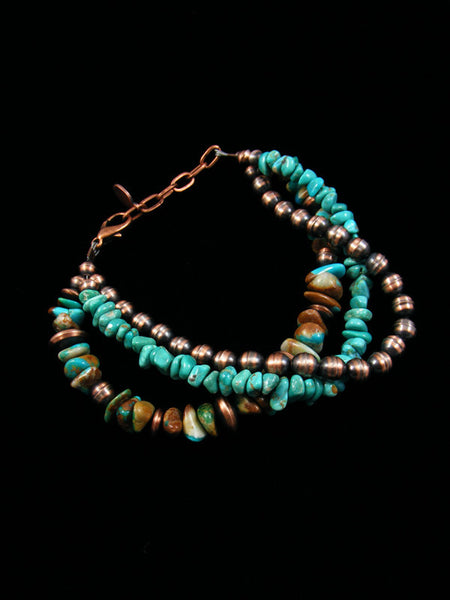 Native American Indian Jewelry Copper and Turquoise Bead Bracelet