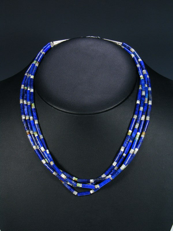 Native American Lapis Four Strand Choker Necklace