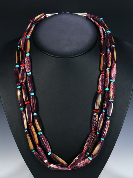 Native American Indian Purple Spiny Oyster Necklace