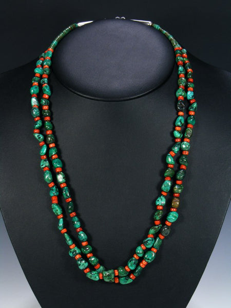 Navajo Double Strand Chrysocolla and Apple Coral Necklace