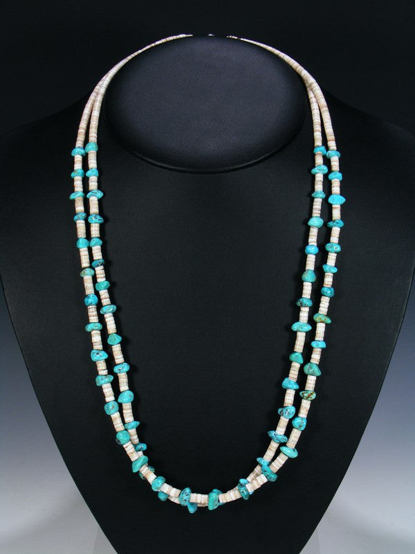 Native American Indian Jewelry White Shell and Turquoise Necklace