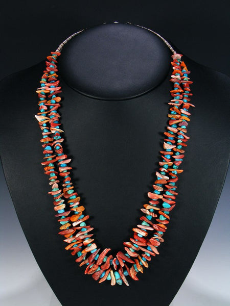 Native American Indian Turquoise and Spiny Oyster Necklace