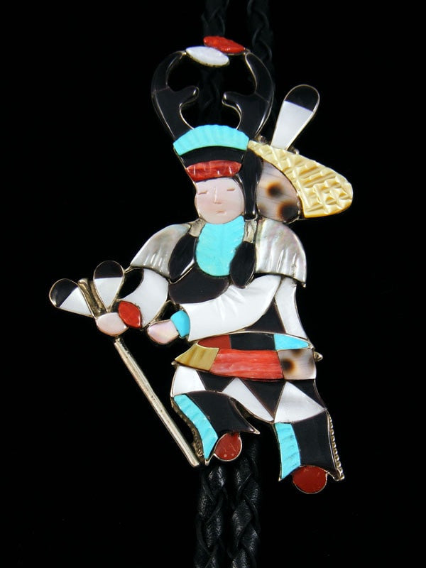 Sterling Silver Zuni Inlay Deer Dancer Bolo Tie by Jonathan Beyuka - PuebloDirect.com - 1