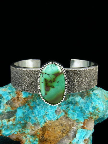 Native American Natural Royston Turquoise Sterling Silver Ingot Bracelet