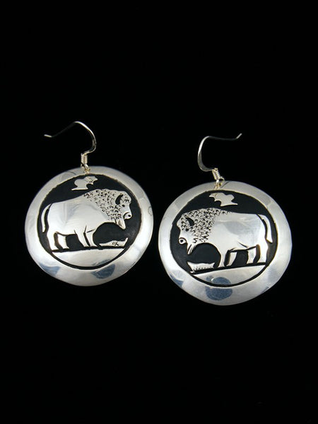 Navajo Sterling Silver Buffalo Overlay Dangle Earrings