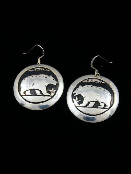 Navajo Sterling Silver Bear Overlay Dangle Earrings