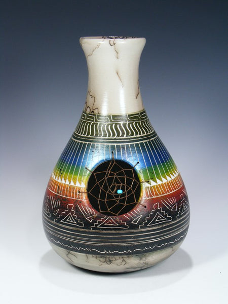 Etched Dreamcatcher Horsehair Painted Pottery Vase