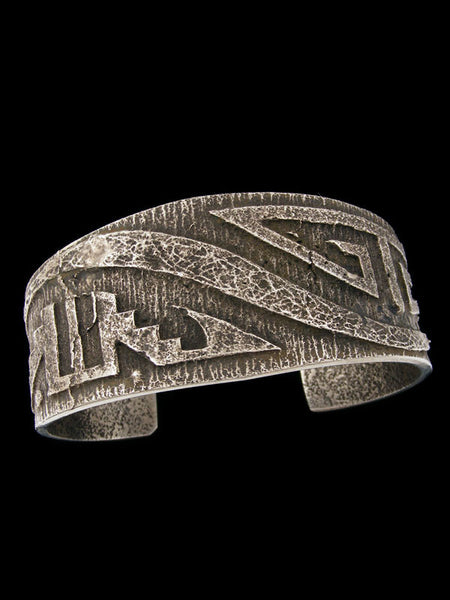 Native American Sterling Silver  Tufa Cast Bracelet by Anthony Bowman - PuebloDirect.com - 1