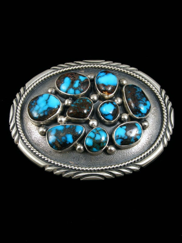 Native American Indian Jewelry Hand Crafted Sterling Silver Turquoise Buckle by Lyle Piaso - PuebloDirect.com