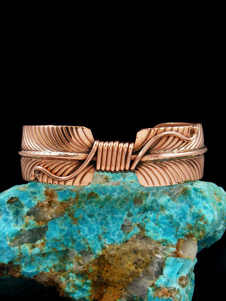 Native American Copper Feather Cuff Bracelet