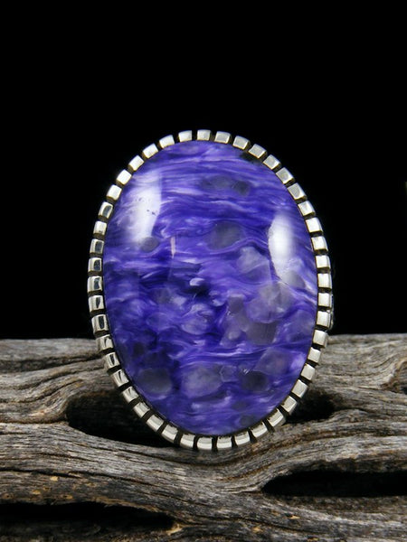 Natural Charoite Sterling Silver Ingot Ring, Size 6.5