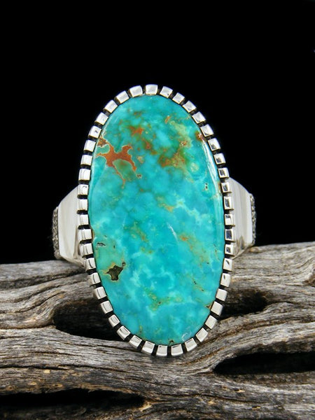 Natural Royston Turquoise Sterling Silver Ingot Ring, Size 7.5