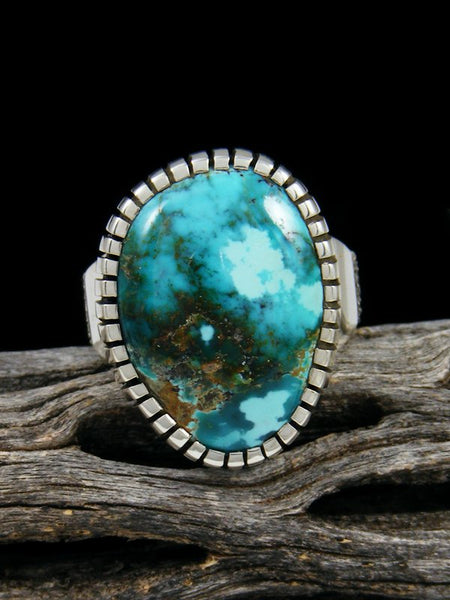 Natural Sierra Nevada Turquoise Sterling Silver Ingot Ring, Size 6