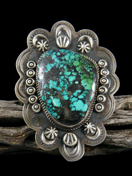 Natural Cloud Mountain Turquoise Sterling Silver Ring, Size 8