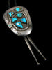 Old Pawn Indian Jewelry Sterling Silver Turquoise Bolo Tie by Effie Calavaza - PuebloDirect.com - 2