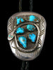 Old Pawn Indian Jewelry Sterling Silver Turquoise Bolo Tie by Effie Calavaza - PuebloDirect.com - 1
