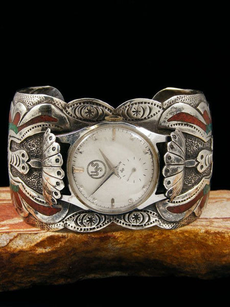 Old Indian Turquoise and Coral Chip Inlay Cuff Watch by Vintage Jewelry - PuebloDirect.com - 1