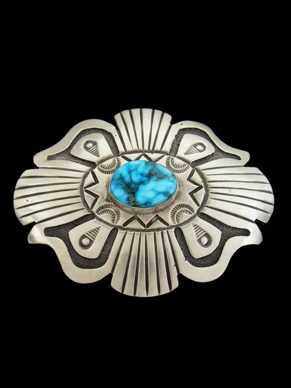 Sterling Silver Native American Turquoise Belt Buckle by H. Bahe - PuebloDirect.com