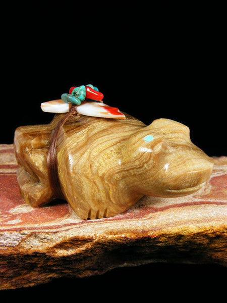 Travertine Frog Zuni Fetish by Michael Weahkee - PuebloDirect.com - 1