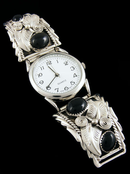 Native American Indian Jewelry Sterling Silver Men's Watch by Navajo Artist - PuebloDirect.com