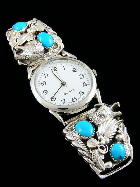 Native American Indian Jewelry Sterling Silver Turquoise Men S Watch By Jeanette Saunders At