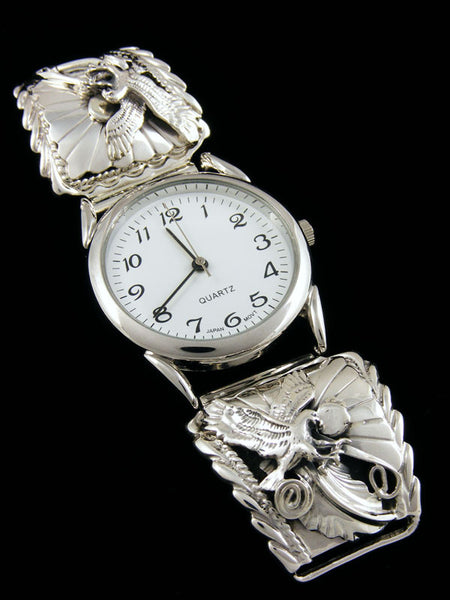 Native American Indian Jewelry Sterling Silver Men's Watch by Rita Montoya - PuebloDirect.com