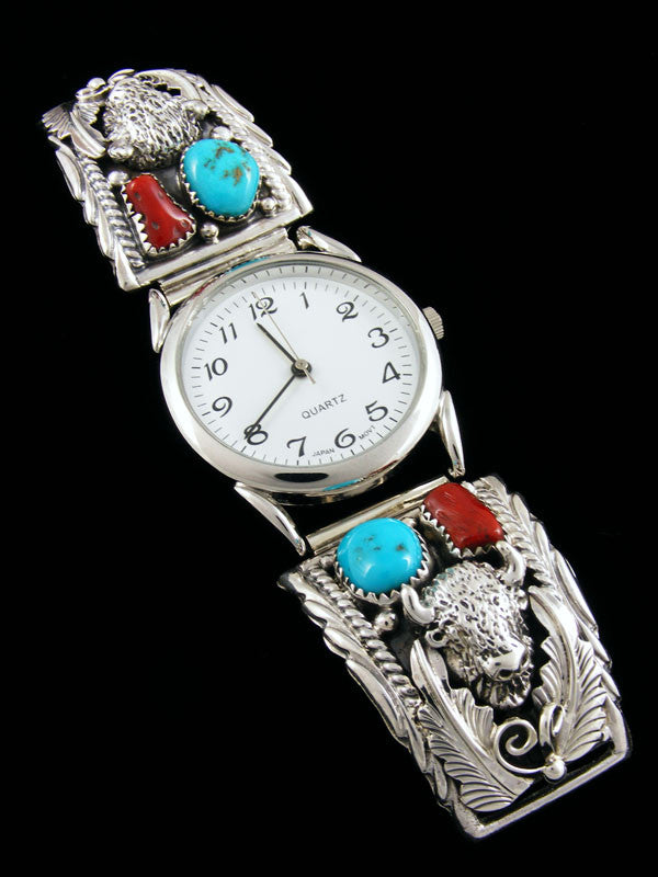 Native American Indian Jewelry Sterling Silver Men's Watch by J Saunders - PuebloDirect.com