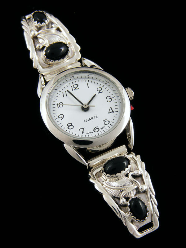Native American Onyx Ladies' Watch by Navajo Artist - PuebloDirect.com