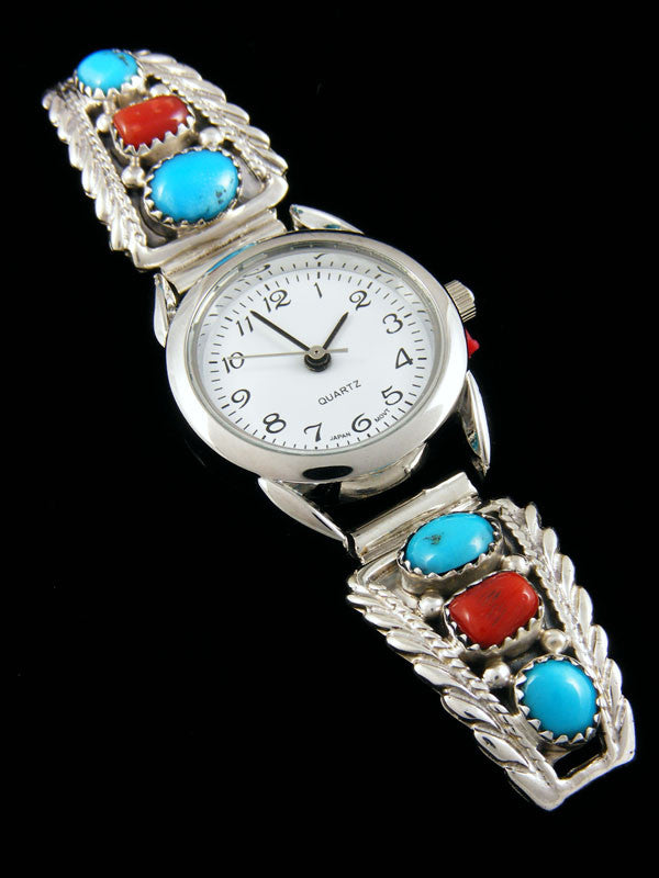Native American Turquoise and Coral Ladies' Watch by Etta Larry - PuebloDirect.com