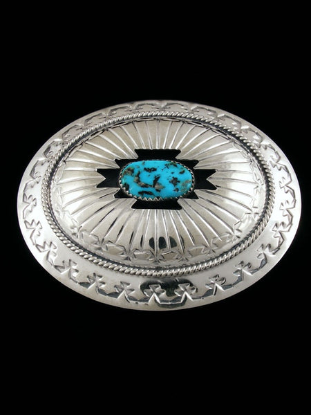Sterling Silver Native American Turquoise Belt Buckle by Wilbert Muskett Jr - PuebloDirect.com
