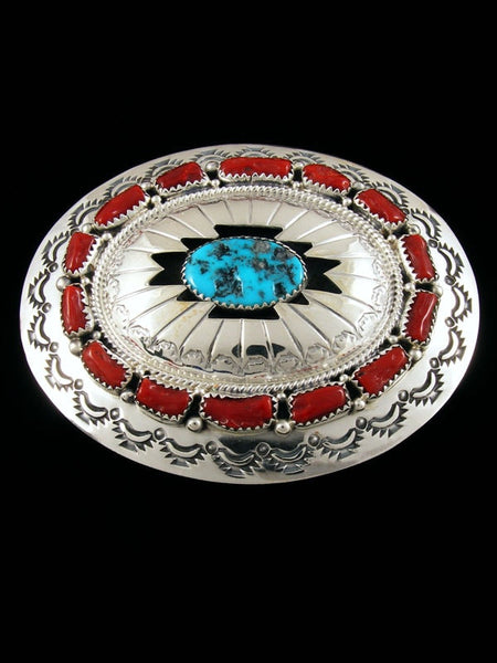 Sterling Silver Native American Turquoise and Coral Belt Buckle by Wilbert Muskett Jr - PuebloDirect.com