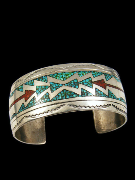 Old Pawn Chip Inlay Bracelet by R N - PuebloDirect.com - 1