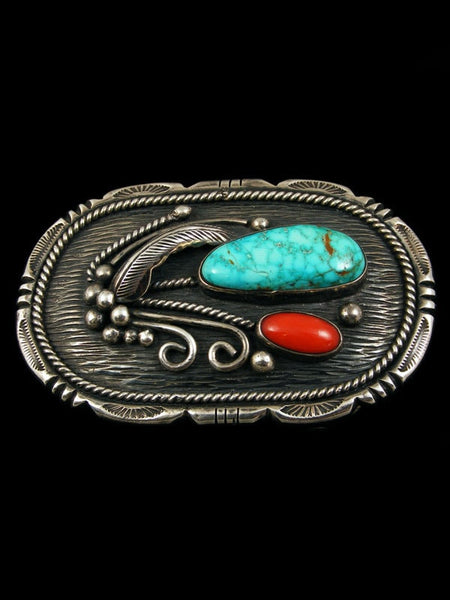 Old Pawn Indian Jewelry Turquoise and Coral Buckle by Ed Kee - PuebloDirect.com - 1