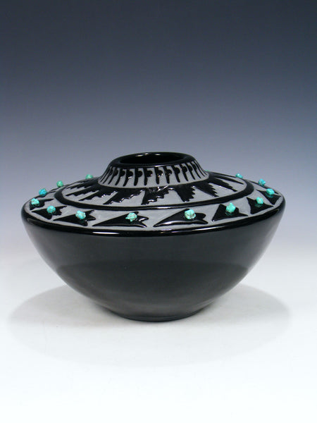San Juan Pueblo Black Pottery Arrowhead Seed Pot