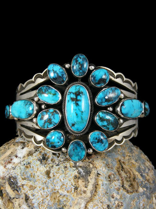 Native American Turquoise Bracelet by Aaron Toadlena - PuebloDirect.com - 1